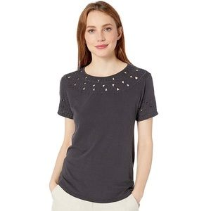 LUCKY BRAND Embroidered Cut-Out Top Gray Sz M NWT